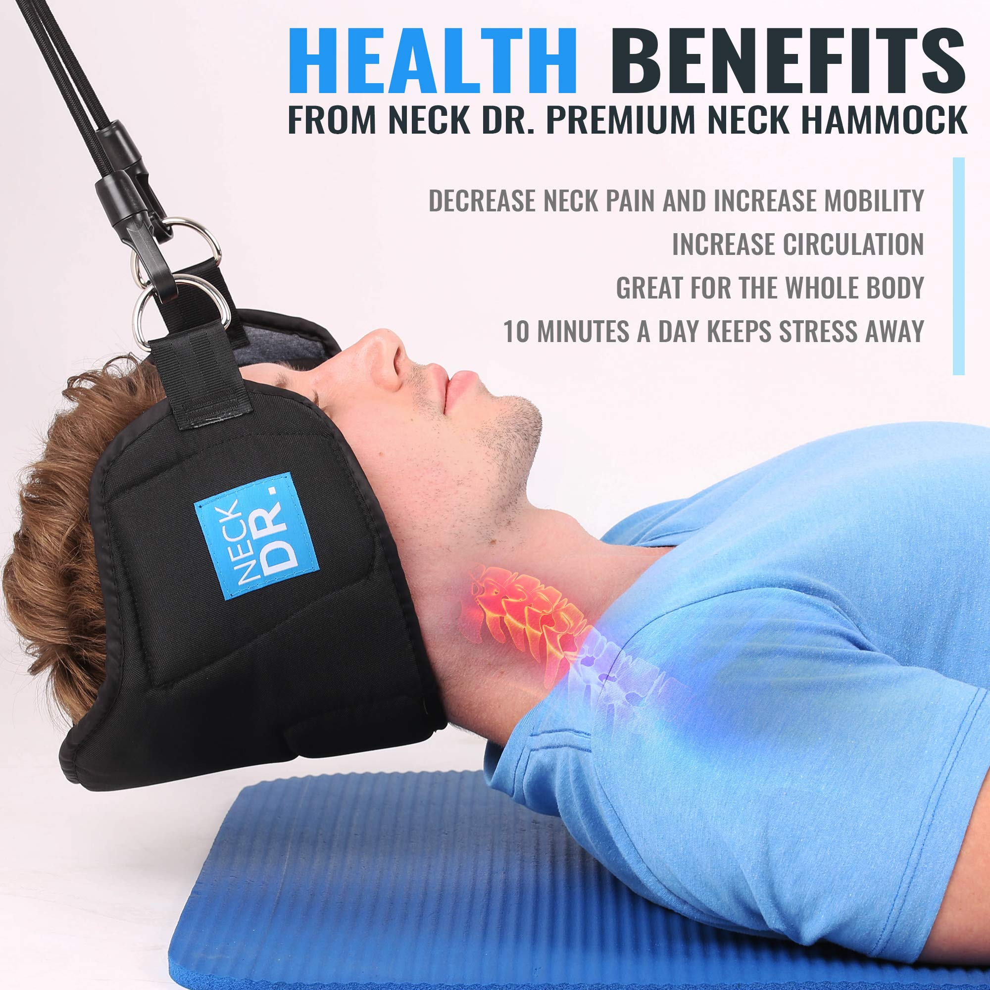 NECK DR. Premium Neck Hammock/Portable Traction Device – Neck Comfort, Cervical Compression Relief, Relaxation Device – Bonus Items: Neck Dr. Brand Eye Mask and Spiky Massage Ball by Neck Dr. (Image #3)