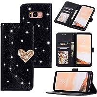 Nadoli Lusso Glitter Amore Cuore Chiusura Magnetica Strass Giuntura Cinturino da Polso Diamante Flip Custodia Cover in Pelle per Samsung Galaxy S8 Plus,Nero