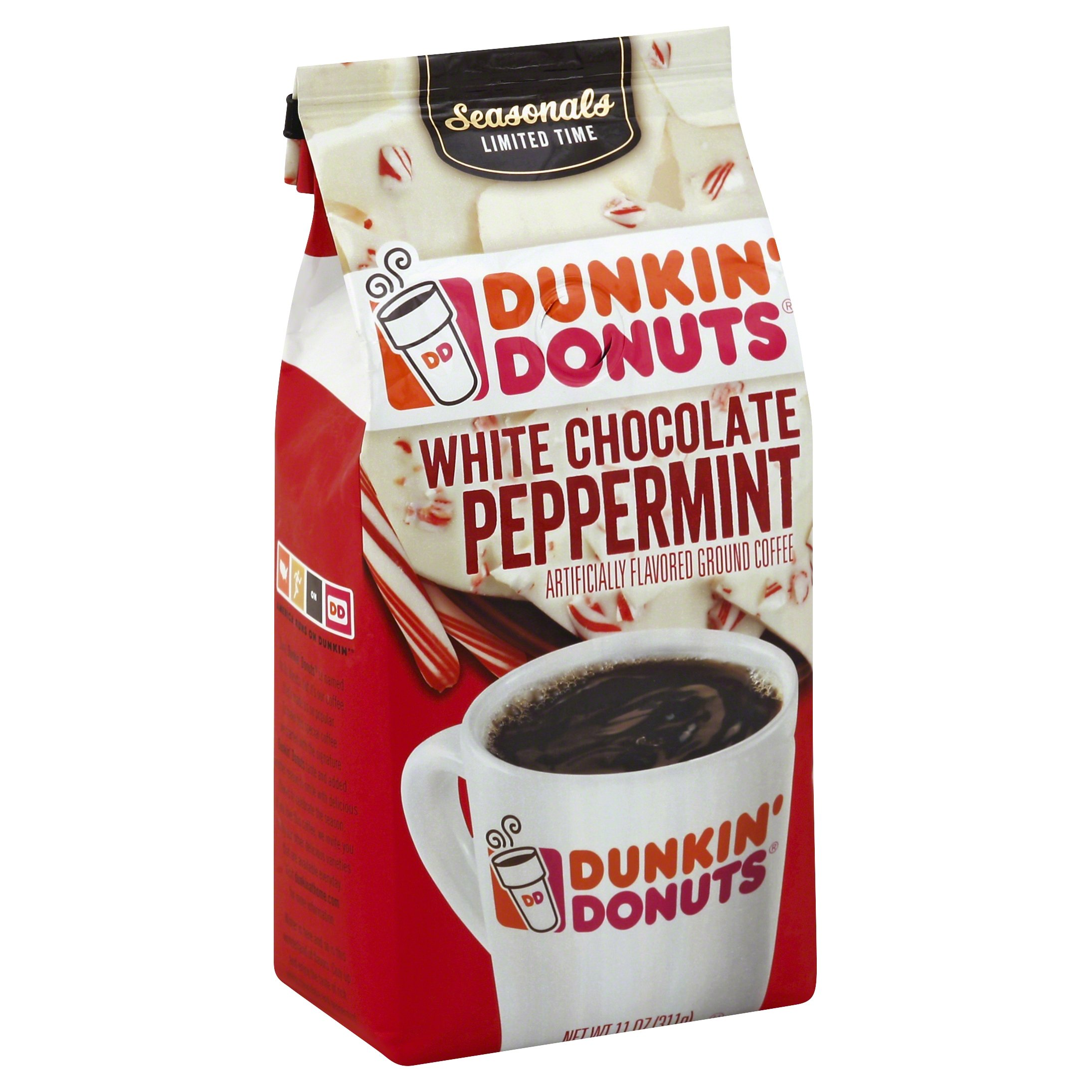 Dunkin' Donuts White Chocolate Peppermint Ground Coffee, Seasonal Limited Time, 11 Ounce, (Pack of 6)