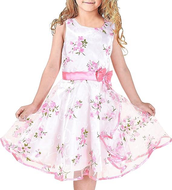 Sunny Fashion Robe Fille Rose Profond D/écontract/ée Coton Manchon Volant Ballon 3-7 Ans
