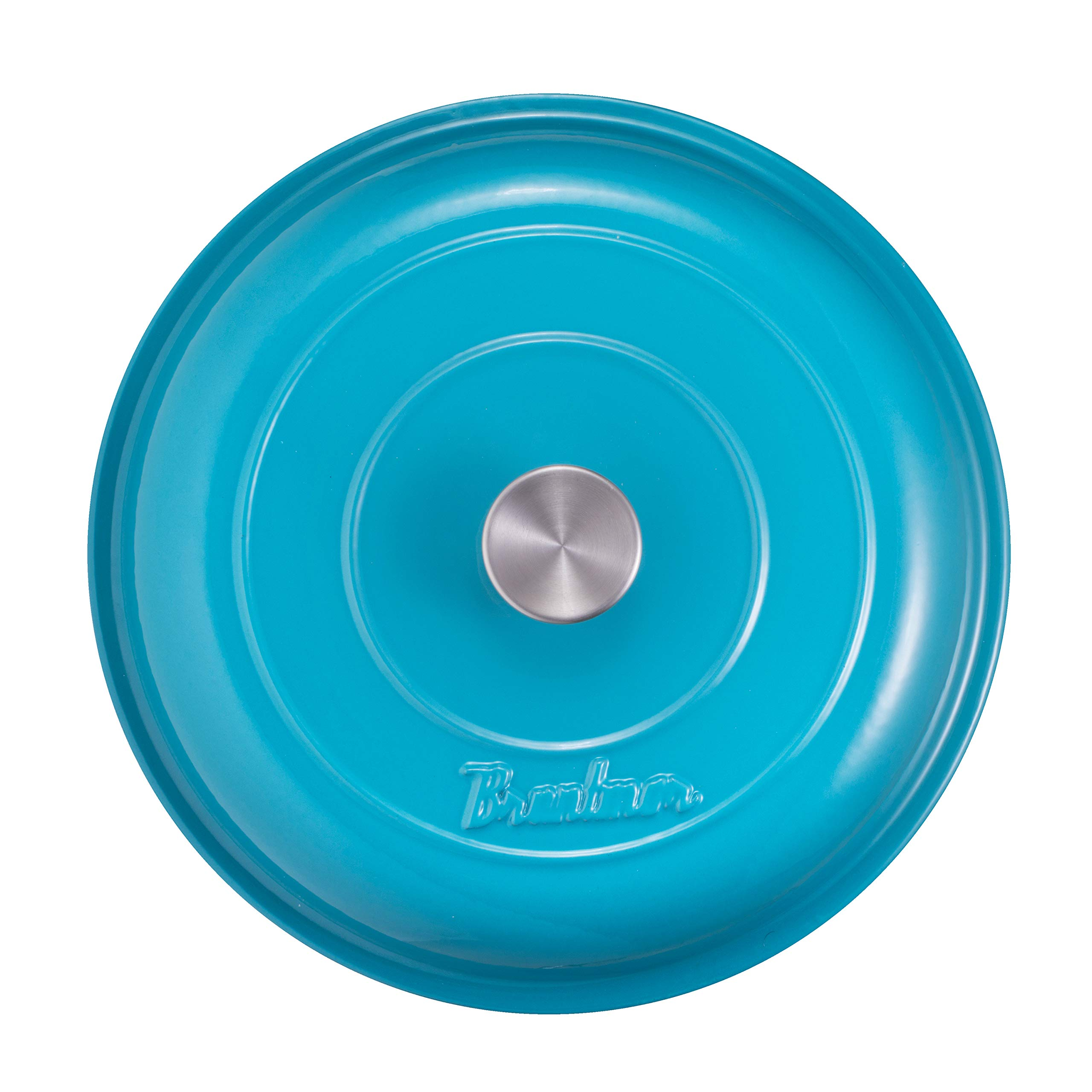 Enameled Cast Iron Shallow Casserole Braiser Pan with Cover, 3.8-Quart, Marine Blue by Bruntmor (Image #9)