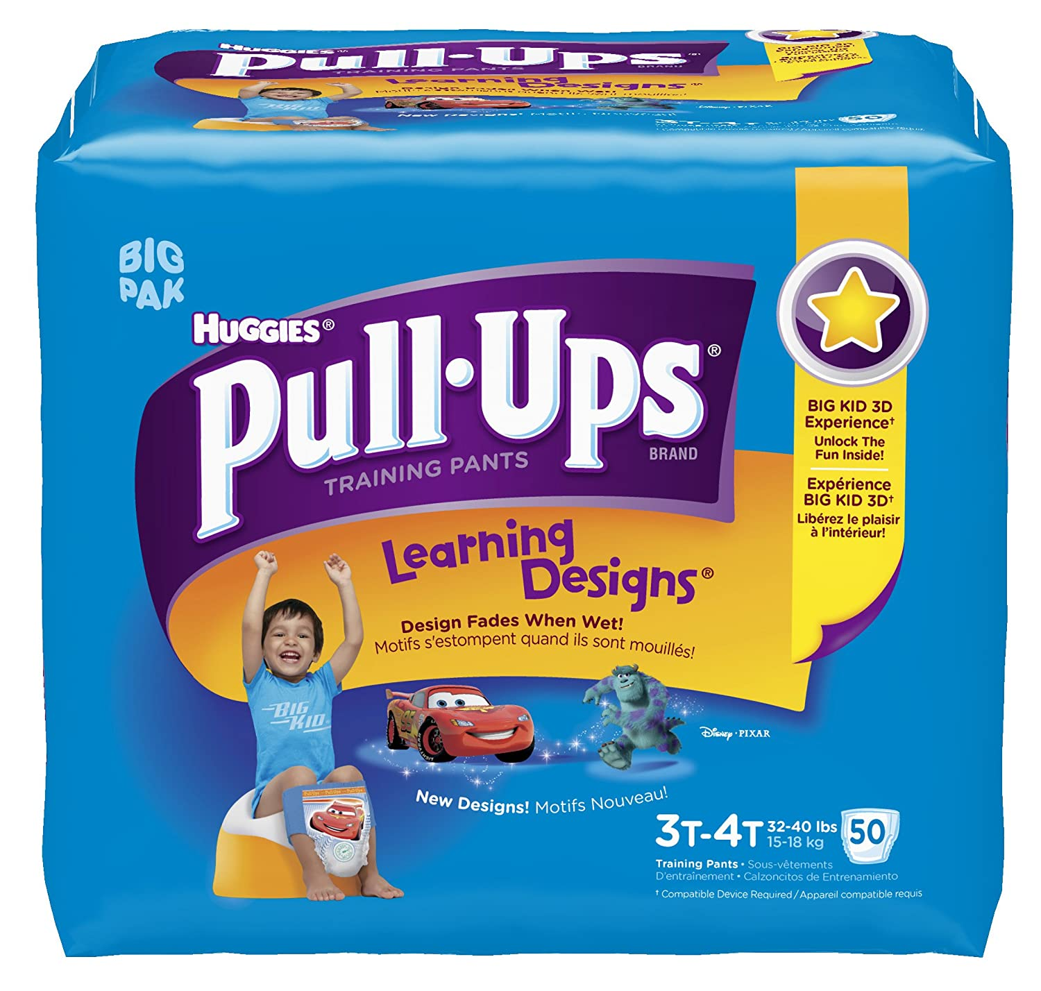 Amazon.com: Huggies Pull-Ups Learning Design Training Pants, Size 3T-4T,  Boy, 50 Count (Pack of 2): Health & Personal Care