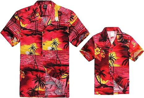 Hawaii Hangover Camisa Hawaiana del Muchacho de la Camisa de los Hombres del Equipo de Luau del Hijo del Padre Puesta de Sol roja: Amazon.es: Ropa y accesorios
