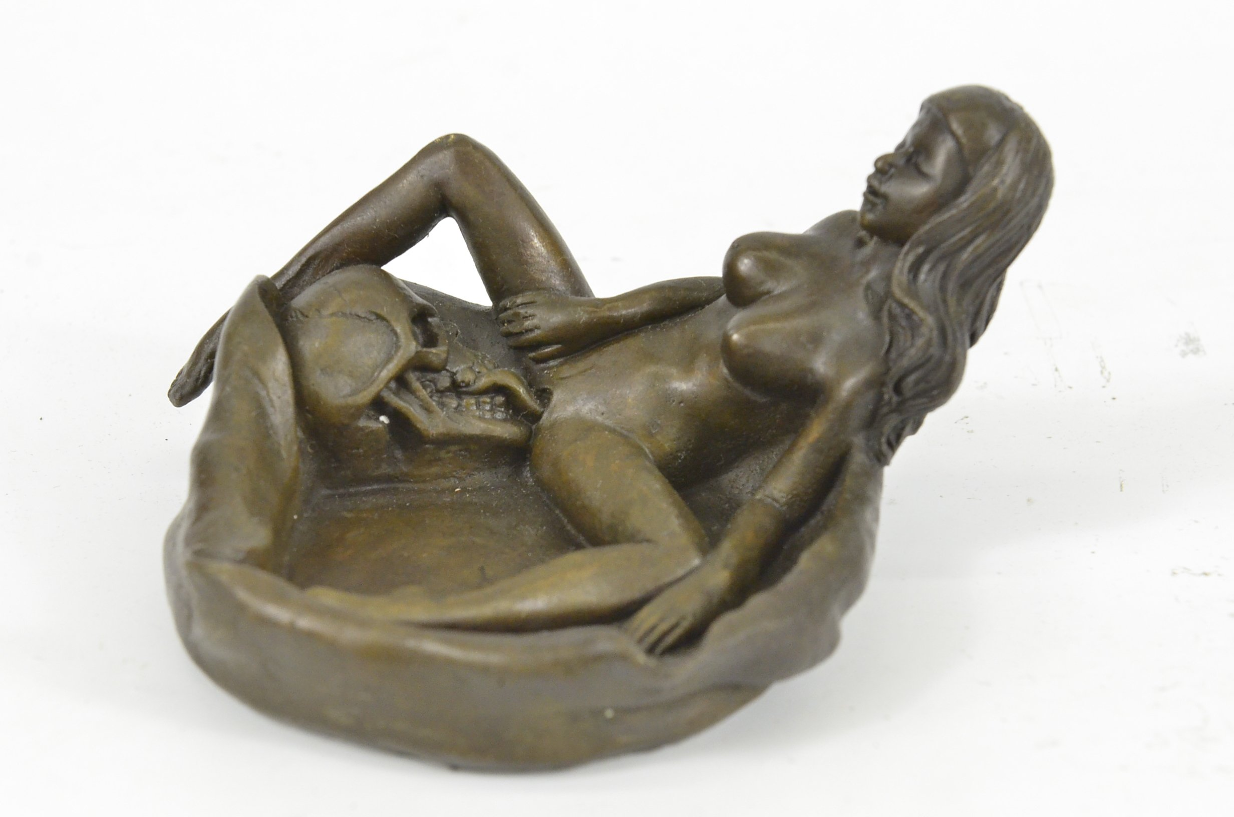 Handmade European Bronze Sculpture Signed Original Collectible Nude Female with Skull Ashtray Sale Bronze Statue -1X-XNRQ-021-Decor Collectible Gift