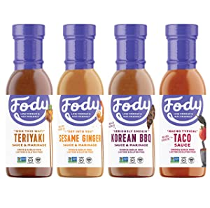 Fody Foods Vegan Variety Sauce Marinade Pack | Low FODMAP Certified | Gut Friendly No Onion No Garlic No MSG | IBS Friendly | Gluten Free Lactose Free Non GMO | 4 Bottles, 8 Ounce