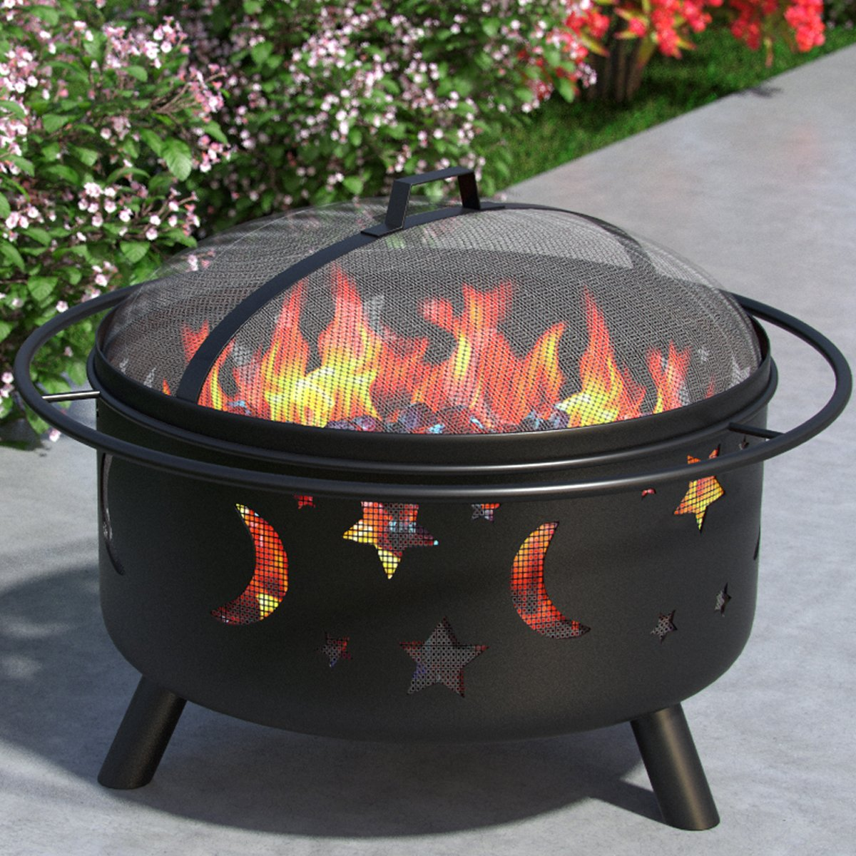 """Stars and Moon 23"""" Portable Outdoor Fireplace Fire Pit Ring For Backyard Patio Fire, RV, Patio Heater, Stove, Camping, Bonfire, Picnic, Firebowl No Propane, Includes Safety Mesh Cover, Poker Stick"""