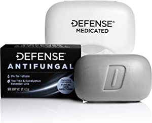 Defense Antifungal Medicated Bar Soap   Intensive Treatment for Athlete's Foot Fungus and Fungal Infections of The Skin (One Bar with Snap-Tight Case)