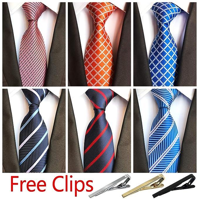 0d03c4cb5d86 Jeatonge Lot 6 Pcs Mens Ties and 3 Free Tie Clips, Men's Classic Tie Necktie