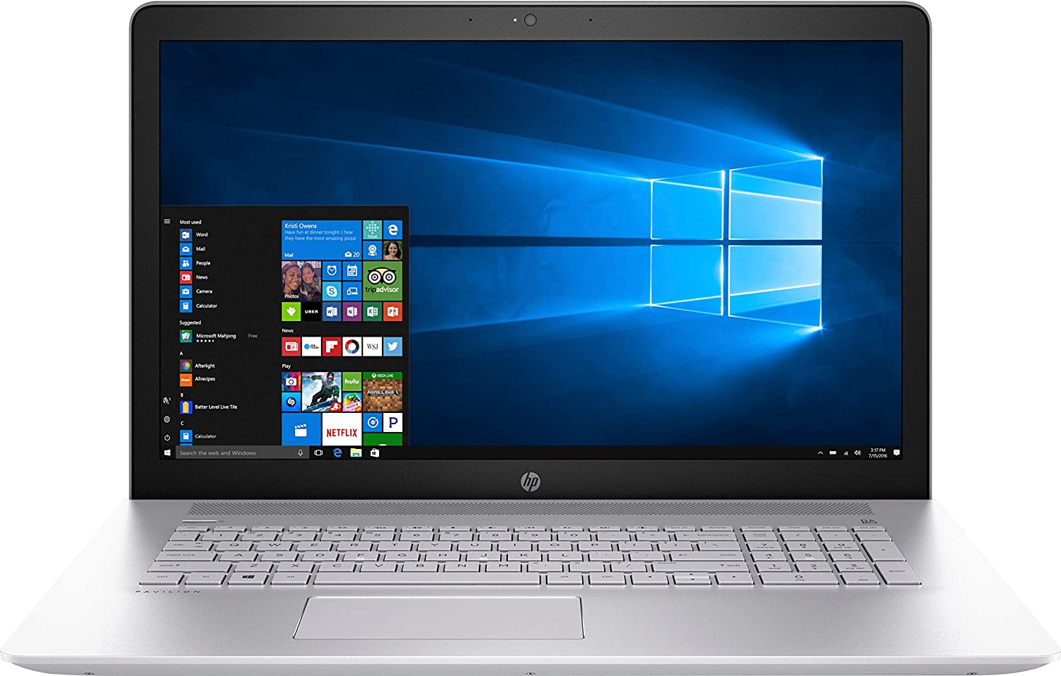 "HP Pavilion 17-ar050wm Laptop 17.3"" FHD IPS anti-glare WLED-backlit (1920 x 1080) AMD Quad-Core A10-9620P 8GB RAM 1TB HDD DVD-Writer Windows 10 Home 64"