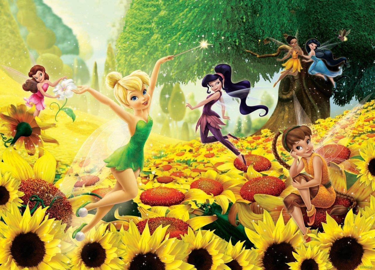 Fototapete Vlies Tinkerbell Sonnenblumen Feen Disney XXL 3,10x2,19 m 3 Teilig Neu