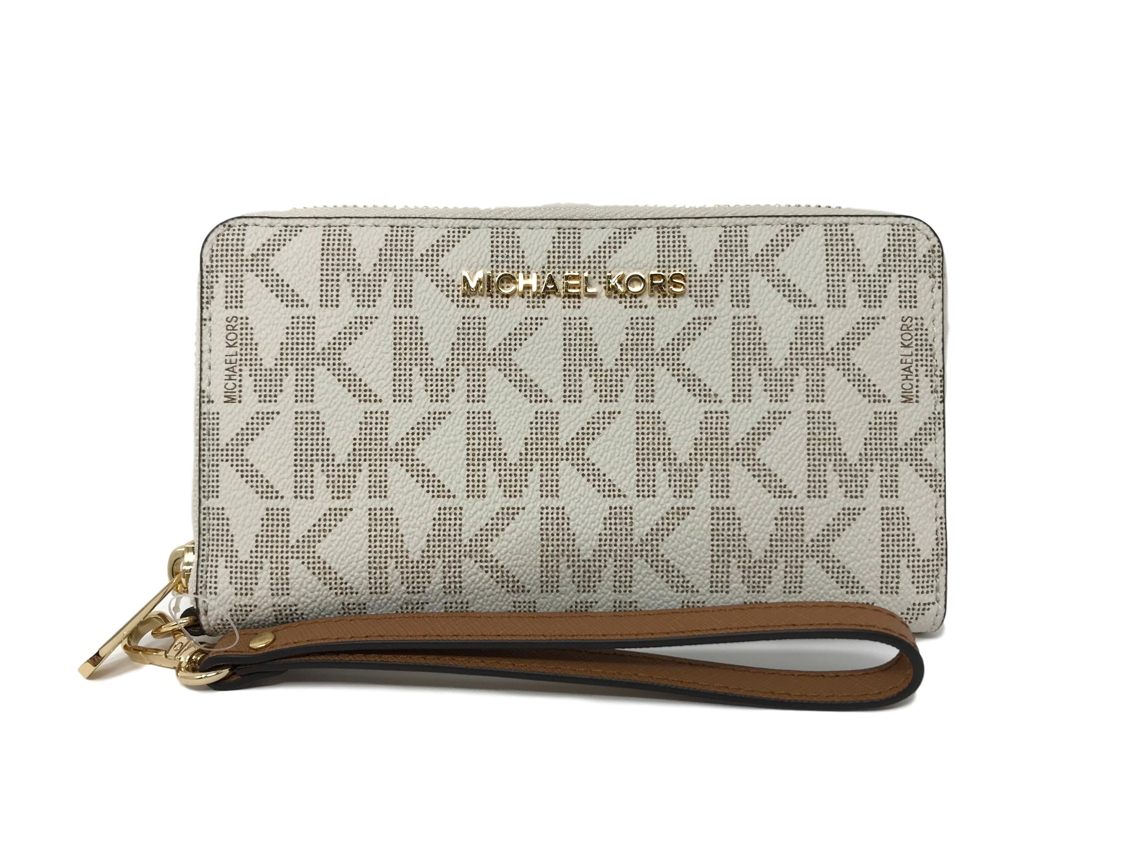 Michael Kors Jet Set Travel Signature PVC Large Flat Multifunction Phone Case Wristlet (Vanilla/Acorn)