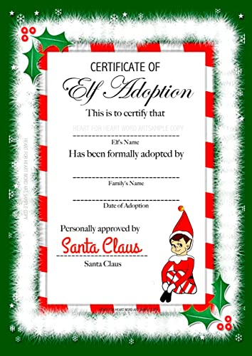 accessory for elf on the shelf adoption certificate elf arrival christmas gift