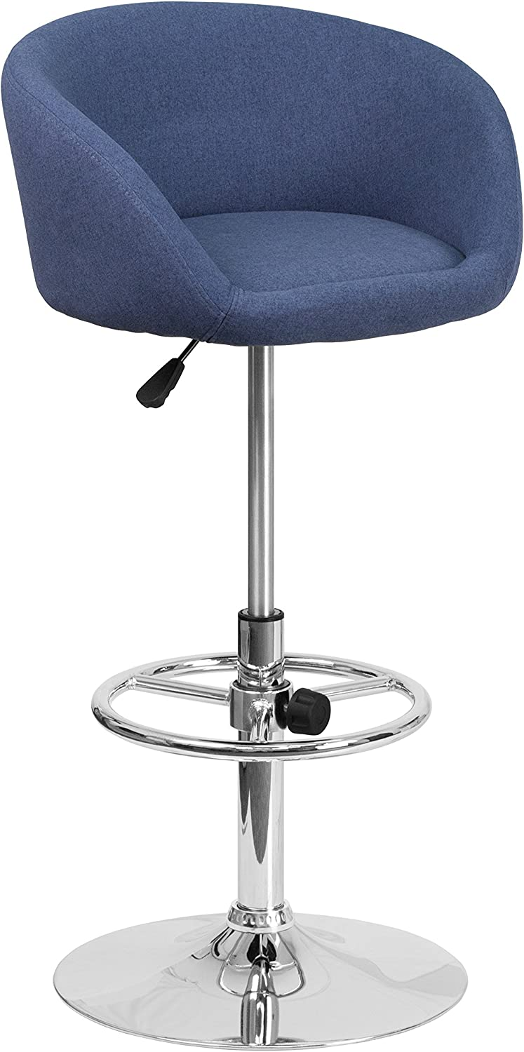 Flash Furniture Contemporary Blue Fabric Adjustable Height Barstool with Barrel Back and Chrome Base