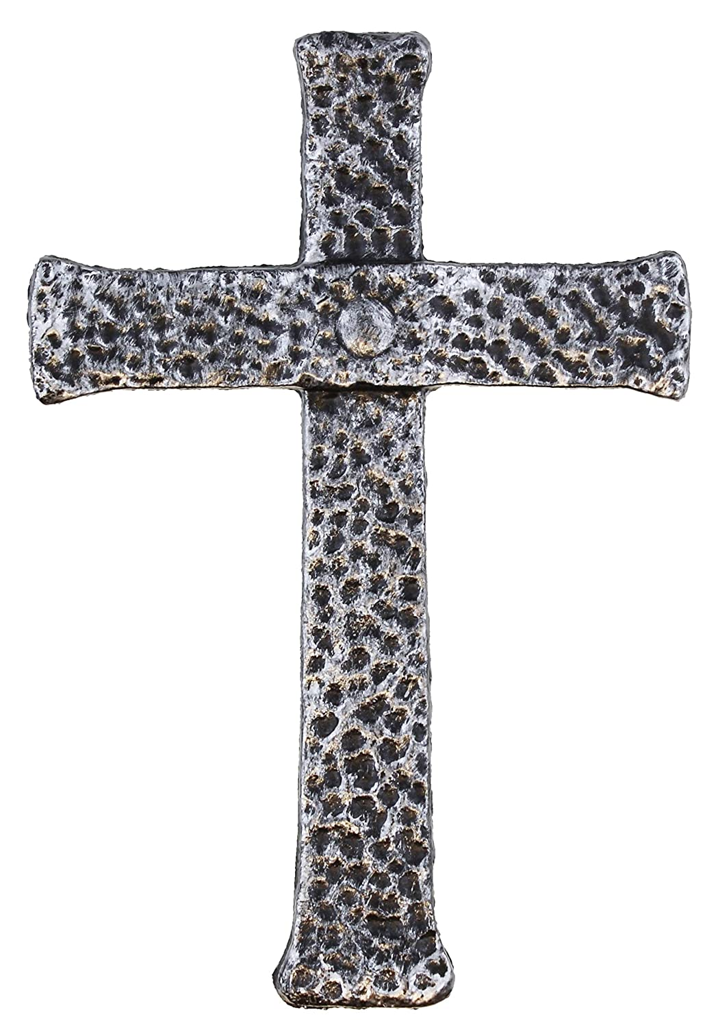 Old River Outdoors Decorative Hammered Cast Iron Wall Cross Antique Silver Old Rugged Cross