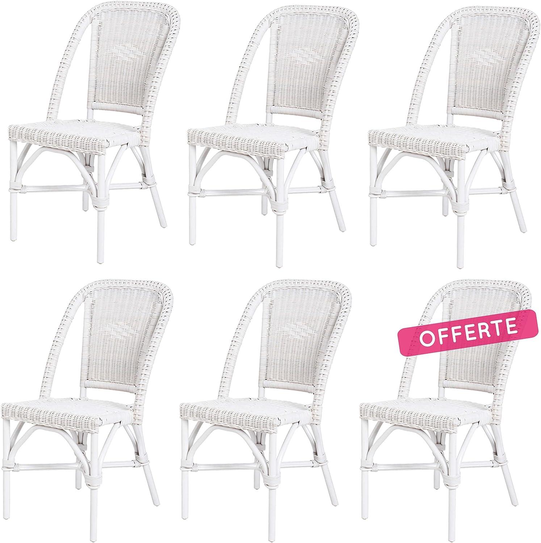 Rotin Design Lote 6 sillas de ratán Blancas Comedor Selva: Amazon.es: Hogar