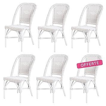 Rotin Design Rebajas : 43% Lote 6 sillas de ratán Blancas