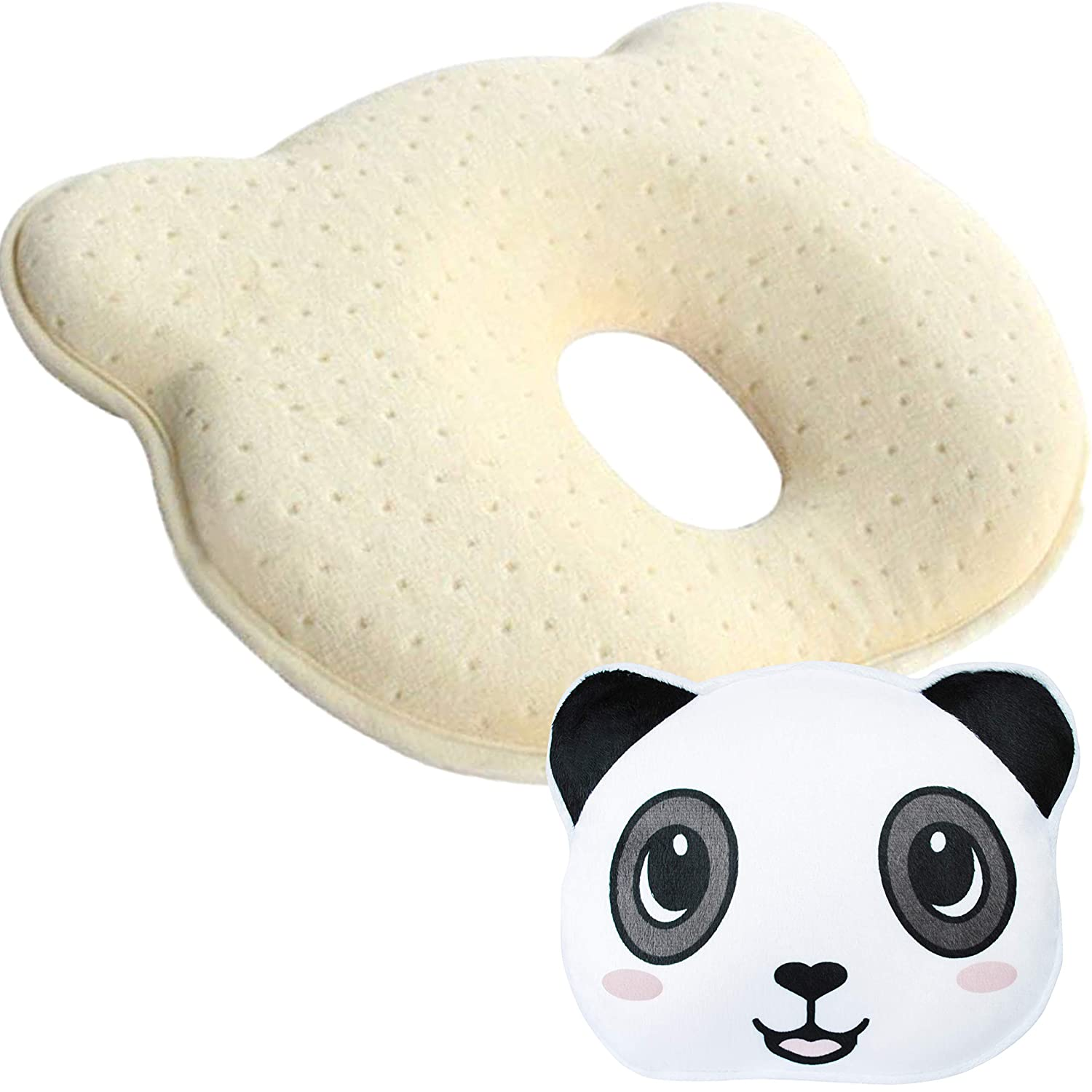 Newborn Baby Head Shaping Pillow, Prevents & Corrects Flat Head Syndrome | Supports Healthy Neck and Spine Development | Breathable Memory Foam Pillow with a Washable Panda Pillowcase Kit n Baby
