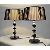 Pair of New Deco Modern Designer Bedside Table Lamps with Black String Shade Set of 2