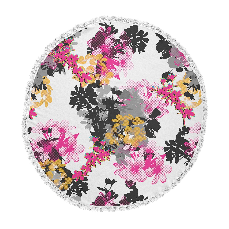 KESS InHouse Victoria Krupp Deeply in Love Magenta White Floral Fantasy Digital Illustration Round Beach Towel Blanket