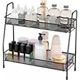 EKNITEY Spice Rack Organizer for Countertop, 2 Tier Bathroom Shelf, Desktop Makeup Organizer, Small Storage Rack for Kitchen,