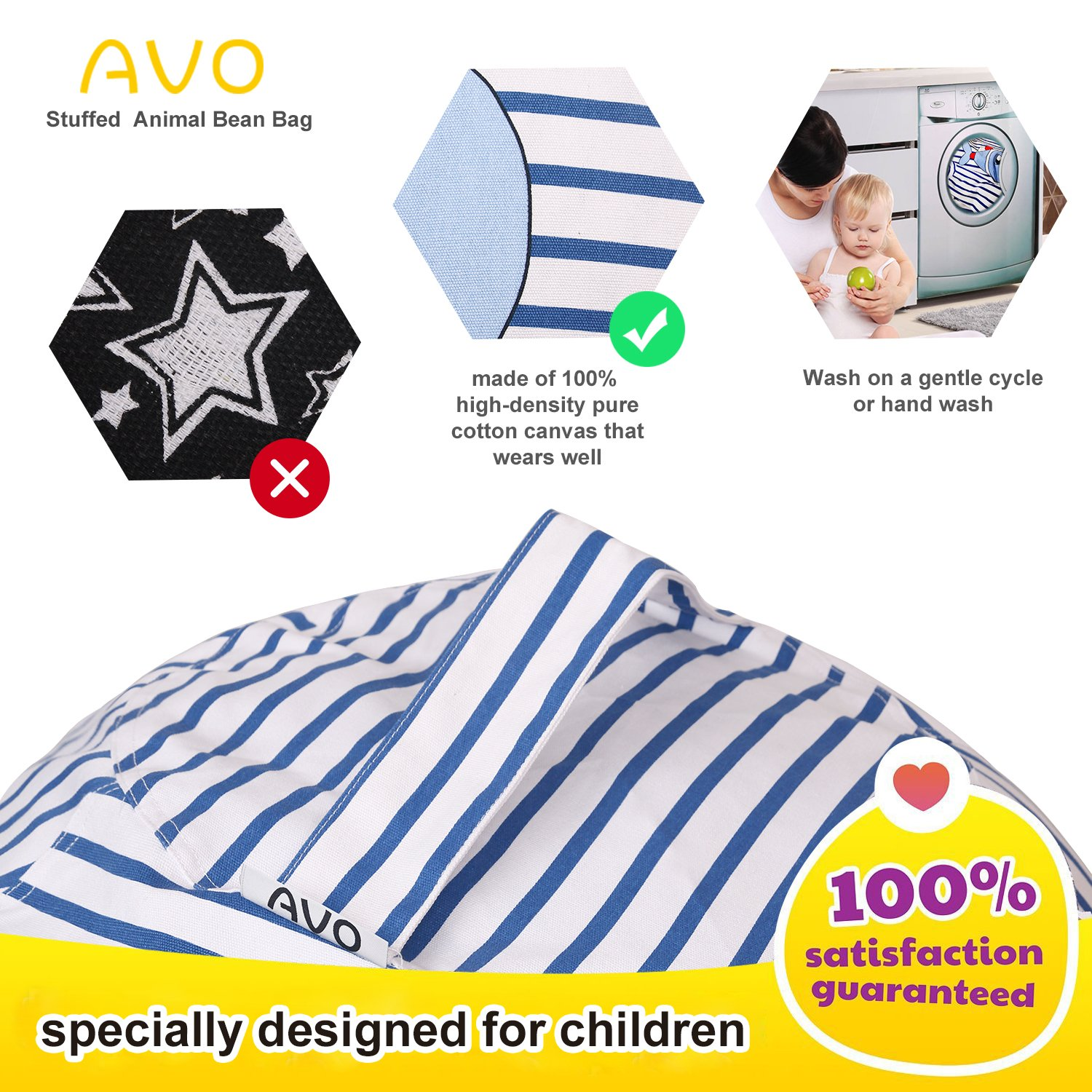 Extra-Large Stuffed Animal Storage Bean Bag-100% high-density(Kids Bean Bag 38'', fish) by AUO (Image #4)