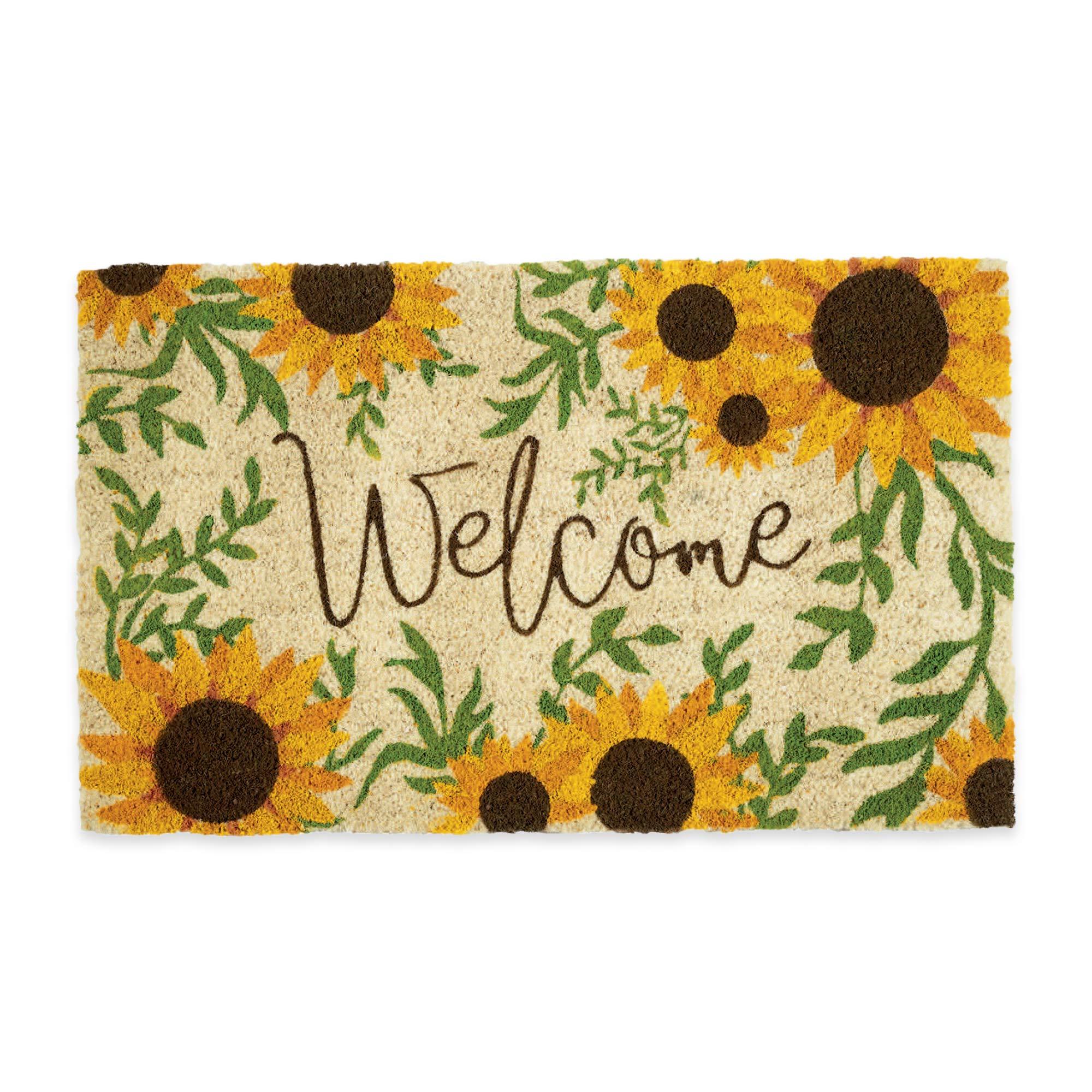 DII Sunflower Welcome Seasonal Doormat, 18x30,