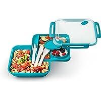 Rotho 1l Memory B3/ Essensbehälter für unterwegs und Meal Prep/Auslaufsicher und unterteilt Lunchbox, Plastik, Polypropylen (PP), blau, 19.5 x 19.5 x 6.5 cm