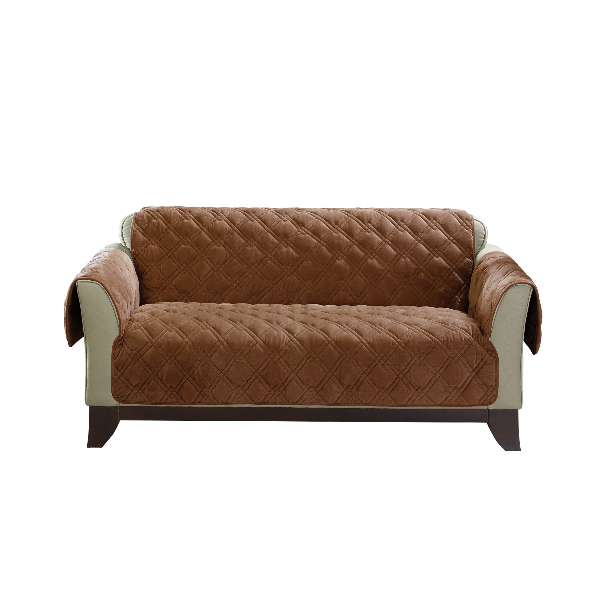 Sure Fit Plush Comfort Furniture Protector with Non Slip Backing, Loveseat, Brown