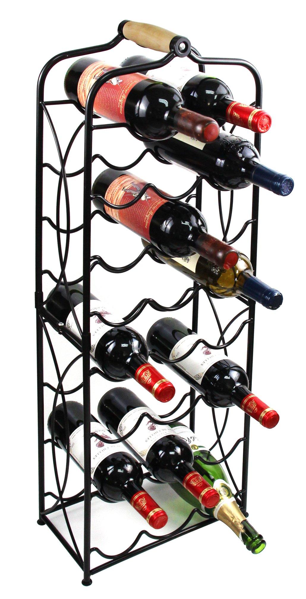 PAG 23 Bottles Metal Wine Racks Stand Display Holder with Wood Handle, Black by PAG