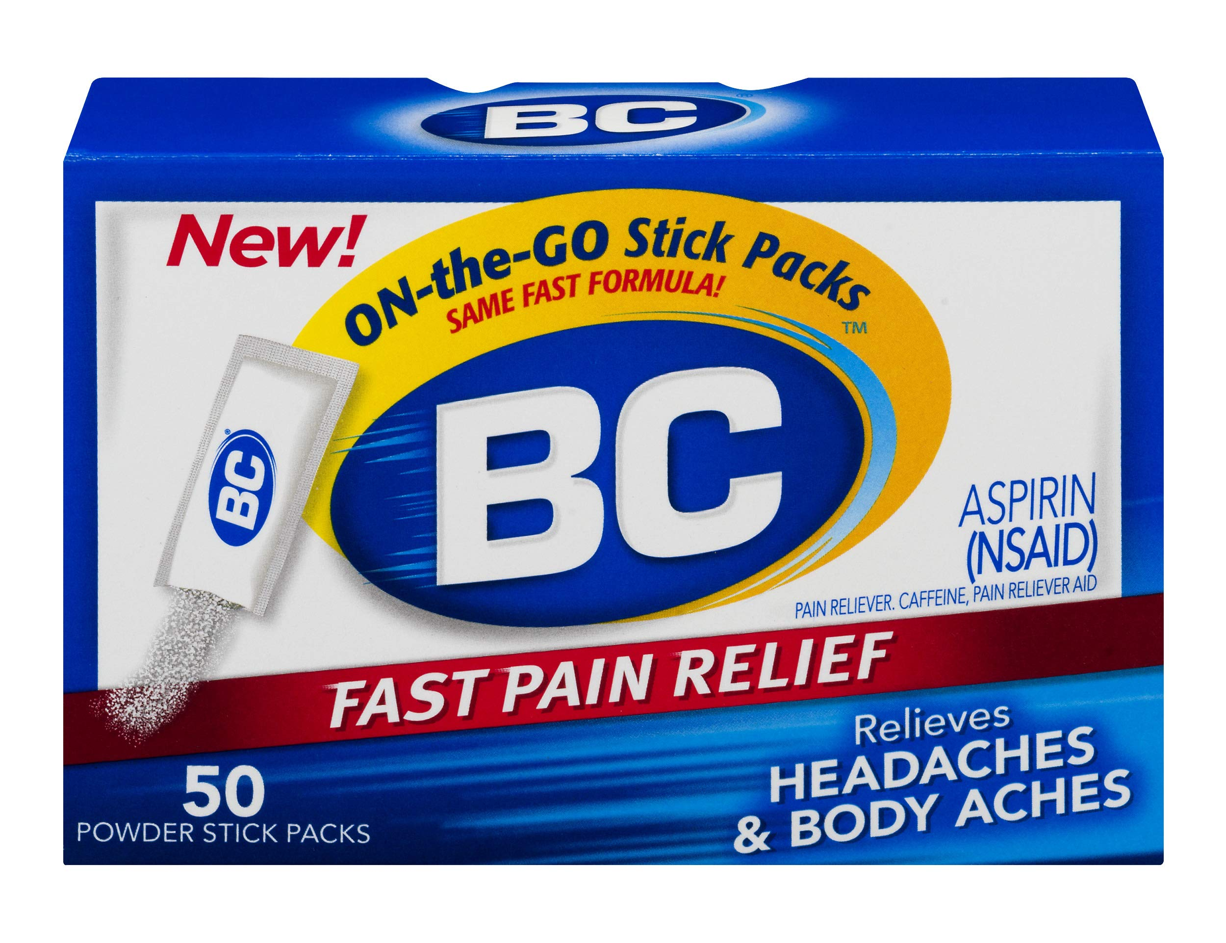BC Powder | Fast Pain Relief | Aspirin (NSAID) & Caffeine | 50 Count | 6 Pack by BC