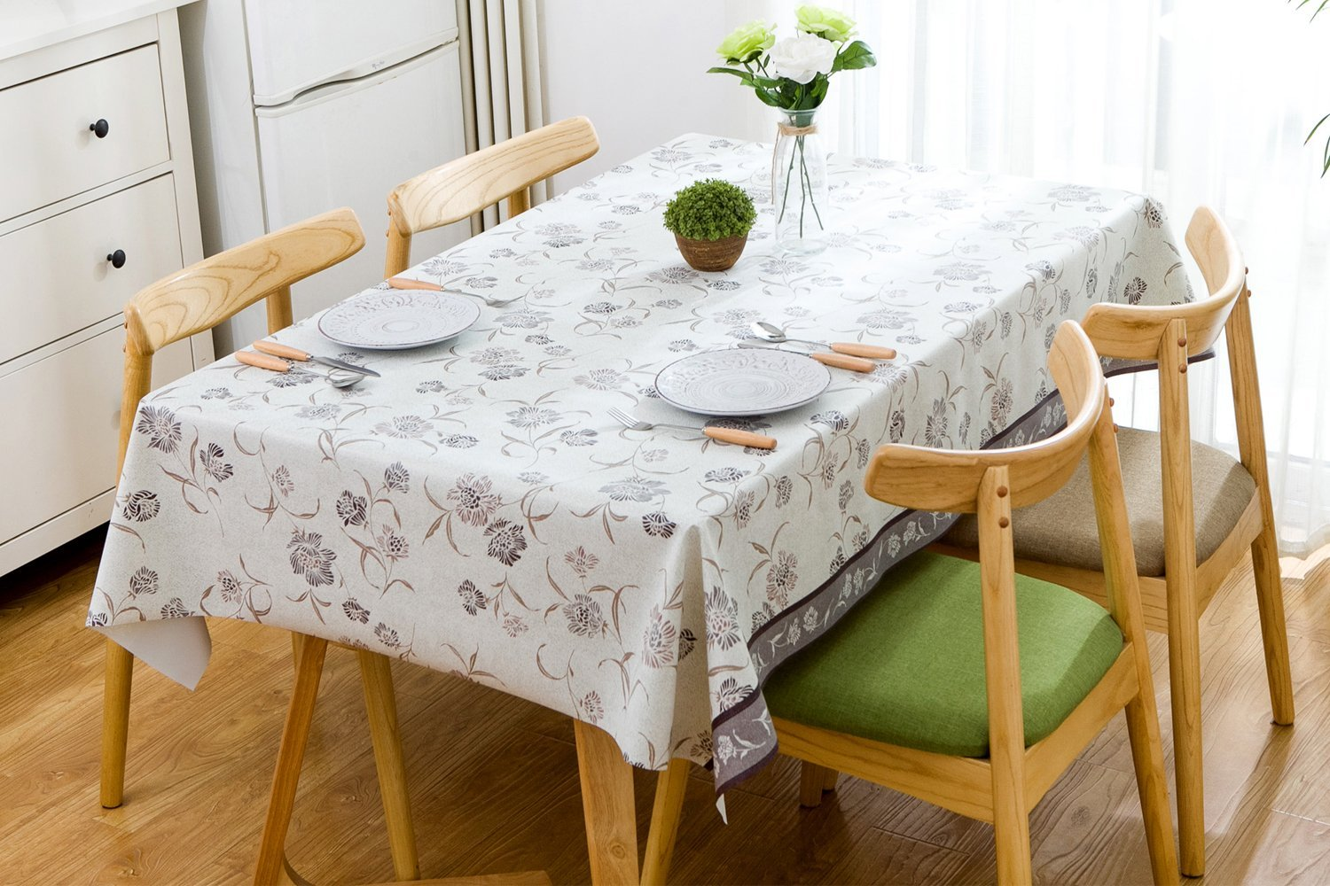 4Ft Bird Silver Grey Square Tablecloth 54 x 54 Inch LOHASCASA Vinyl Oilcloth Tablecloth Spillproof Wipeable PVC Waterproof Plastic Party Oil Tablecloths for Small Coffee Table