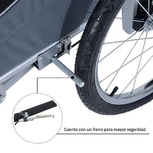 PawHut Remolque Bicicleta Perros Carro Cochecito para Transporte Mascota 2 en 1 con Barra de Paseo Amortiguador Rueda Giratoria 360° Reflectores Carga Máx. ...