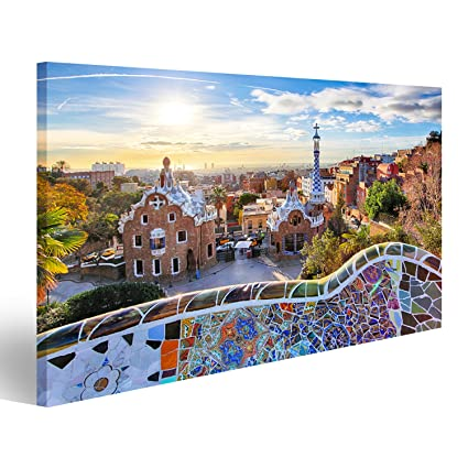 Cuadro Cuadros Barcelona - Park Guell, España Impresión sobre lienzo - Formato Grande - Cuadros