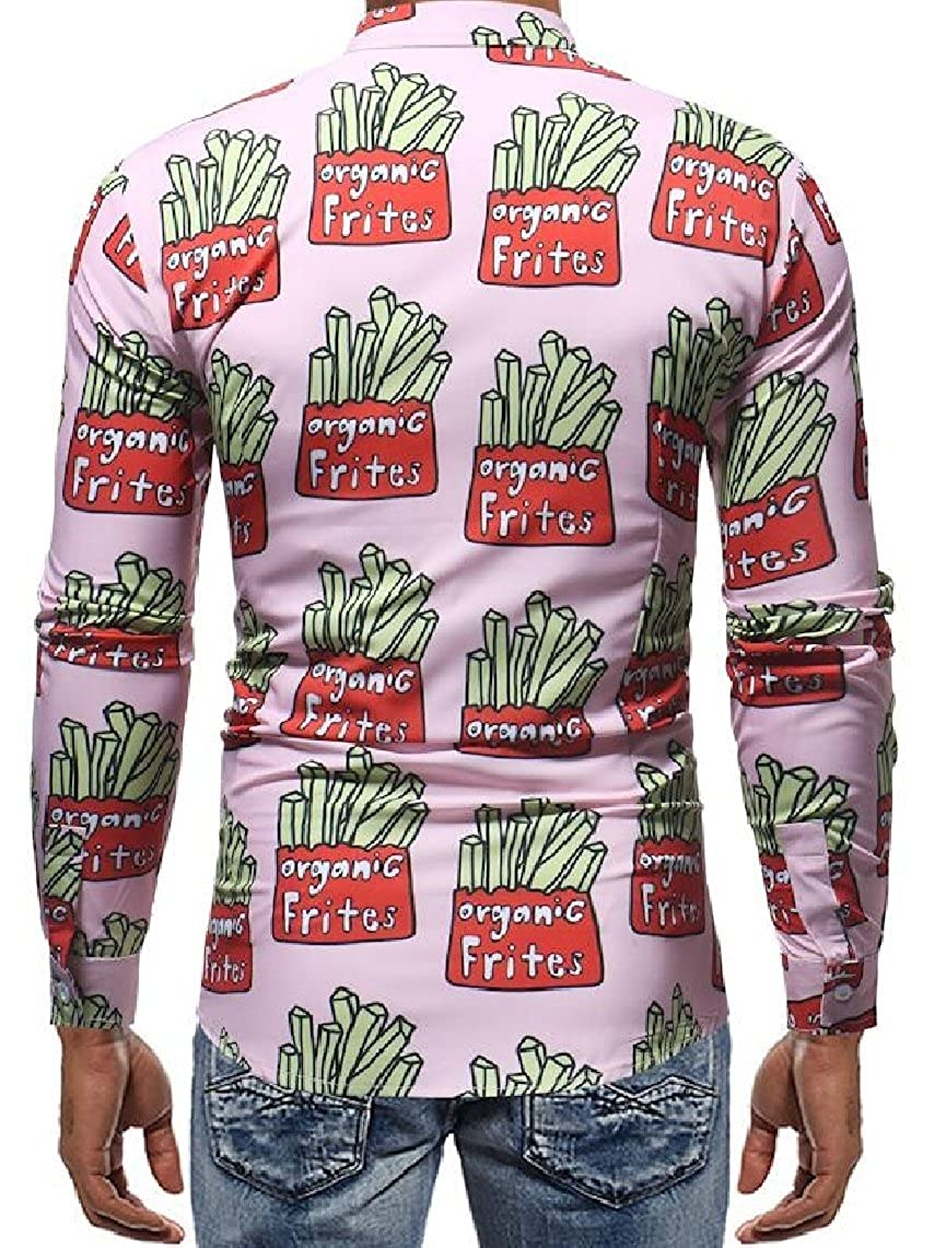 Yayu Mens Fashion Long-Sleeved Slim Fit Lapel Printed Button Down Casual Shirt