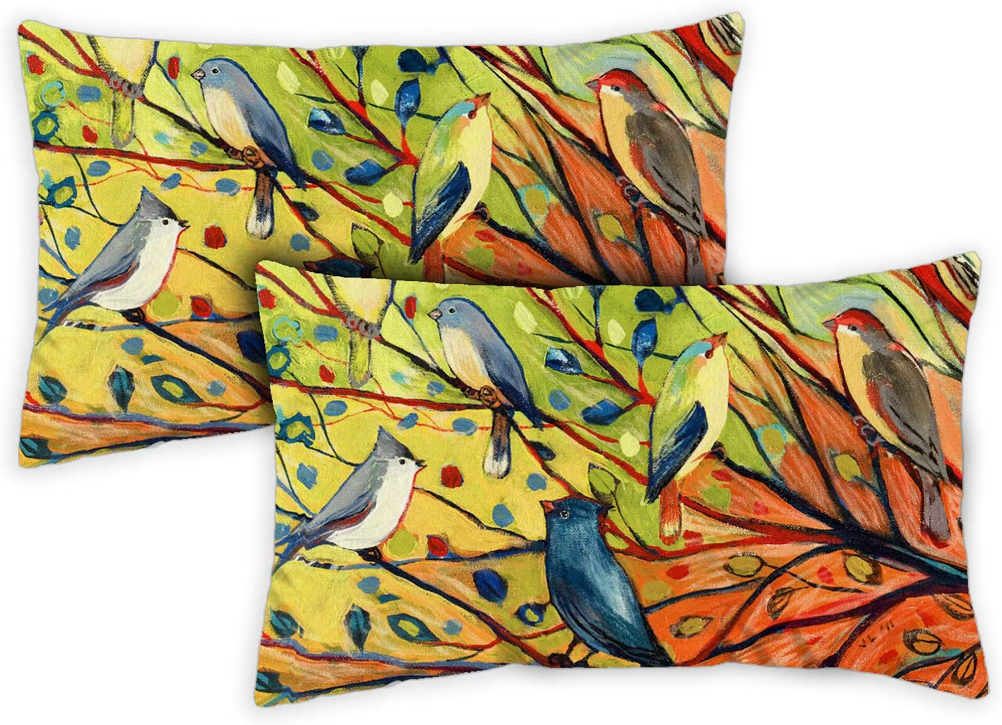 Toland Home Garden Tree Birds 12 x 19 Inch Indoor/Outdoor, Pillow Case (2-Pack)