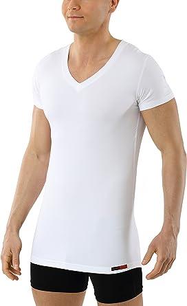 ALBERT KREUZ Camiseta Interior Blanca para Hombre de Tejido técnico algodón-Coolmax – antisudor, Piel Seca – de Manga Corta y con Cuello de Pico: Amazon.es: Ropa y accesorios