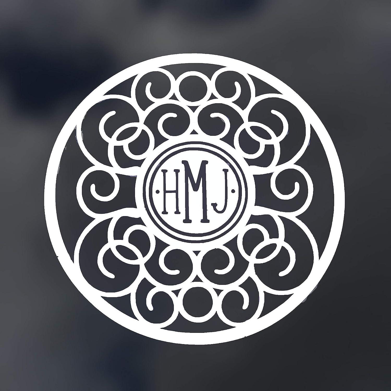 WickedGoodz Custom Circle Mandala Monogram Decal - Personalized Initial Sticker, for Walls, Tumblers, Laptops, Car Windows