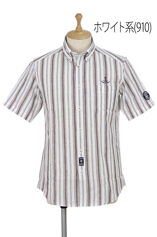 [シナコバ ポルトフィーノ] メンズ 半袖ボタンダウンシャツ シャンブレー調 ストライプ柄 アンカー刺繍 ゴルフウェア M(M) ホワイト系(910) B07SCMW6HH