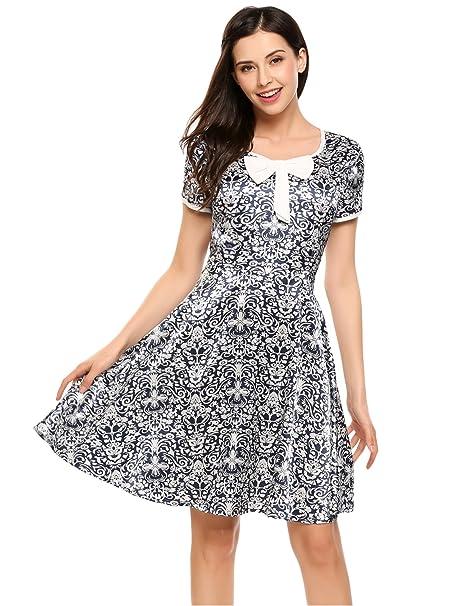 ae4802db83e4f ACEVOG Damen Retro Vintage Kleid V Ausschnitt Kurzarm Sommerkleid  Partykleider Cocktailkleider mit Schleife Vorne