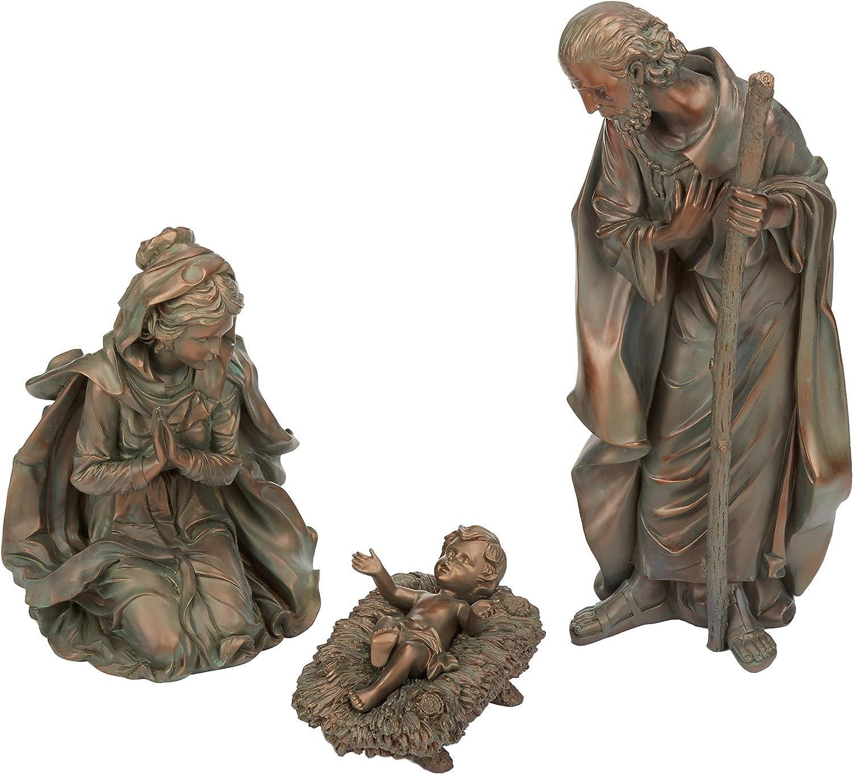New Creative Evergreen 3-Piece Bronze Finish Mary, Joseph and Baby Jesus Outdoor Safe Garden Nativity Set