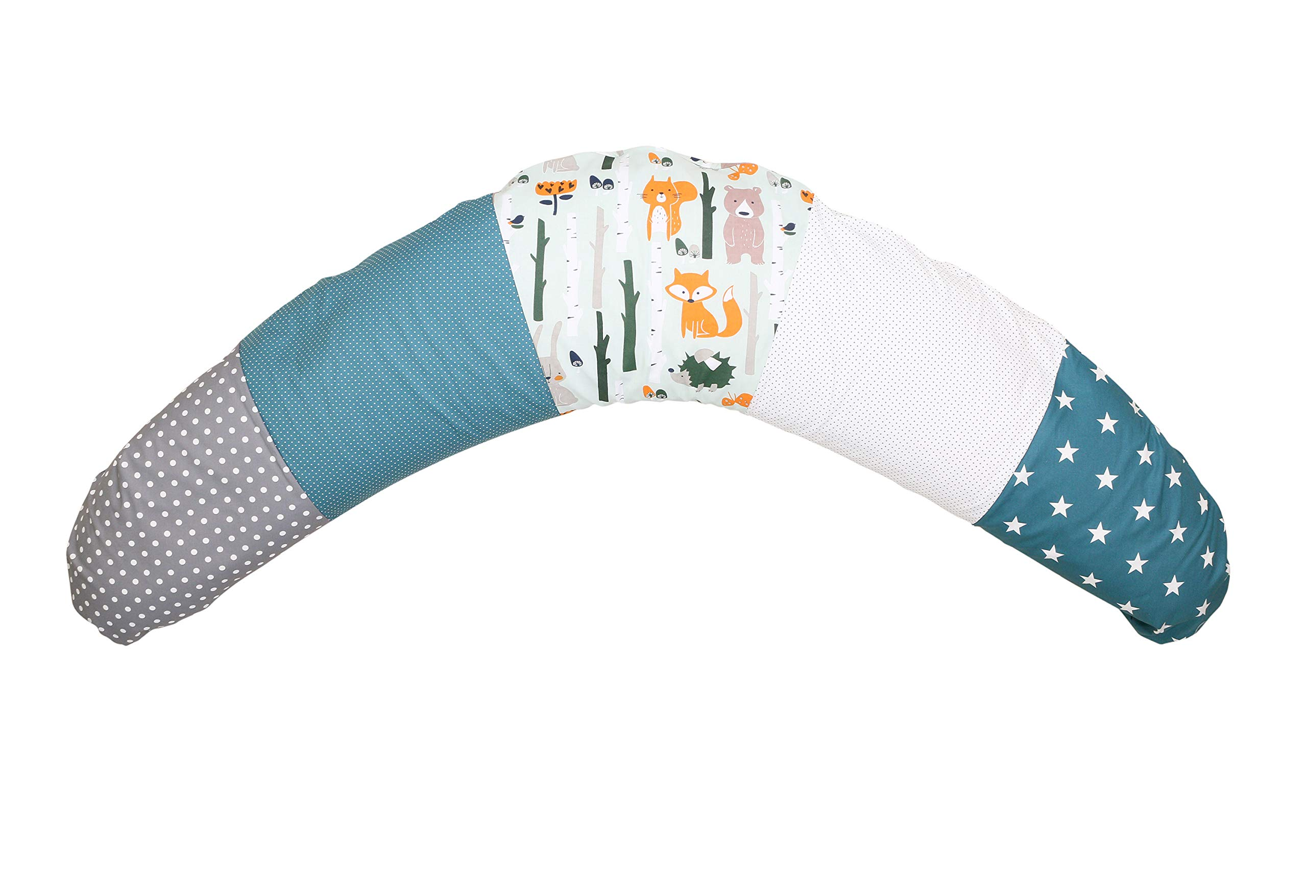 100% Cotton Nursing Pillow by ULLENBOOM | Woodland/Stars/Polka Dots | Breastfeeding/Side Sleeper | 75'' x 15'' - Unisex Teal/Grey by ULLENBOOM