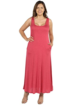613e42fa1e1 24 7 Comfort Apparel Plus Size Dresses Marion Sleeveless Maxi Dress with  Pockets for Womens -  Made in USA  at Amazon Women s Clothing store