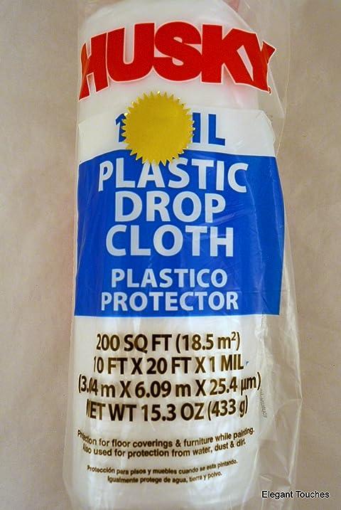 husky clear plastic 1 ml drop cloth 10 ft x 20 ft 200