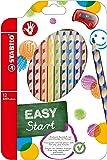 STABILO EASYcolors - Pochette de 12 crayons de couleur ergonomiques + taille-crayon - Droitier