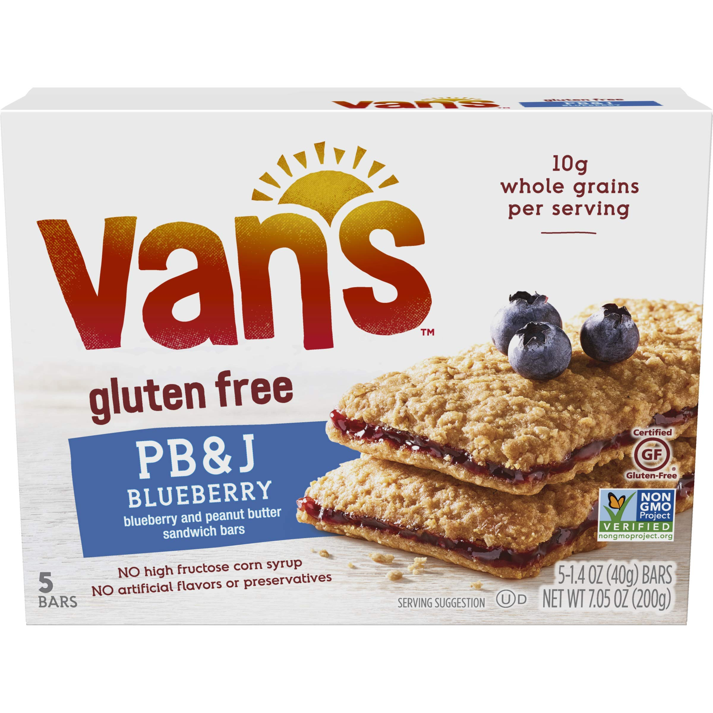 Van's Simply Delicious Gluten-Free Sandwich Bars, Blueberry & Peanut Butter, 5 Count