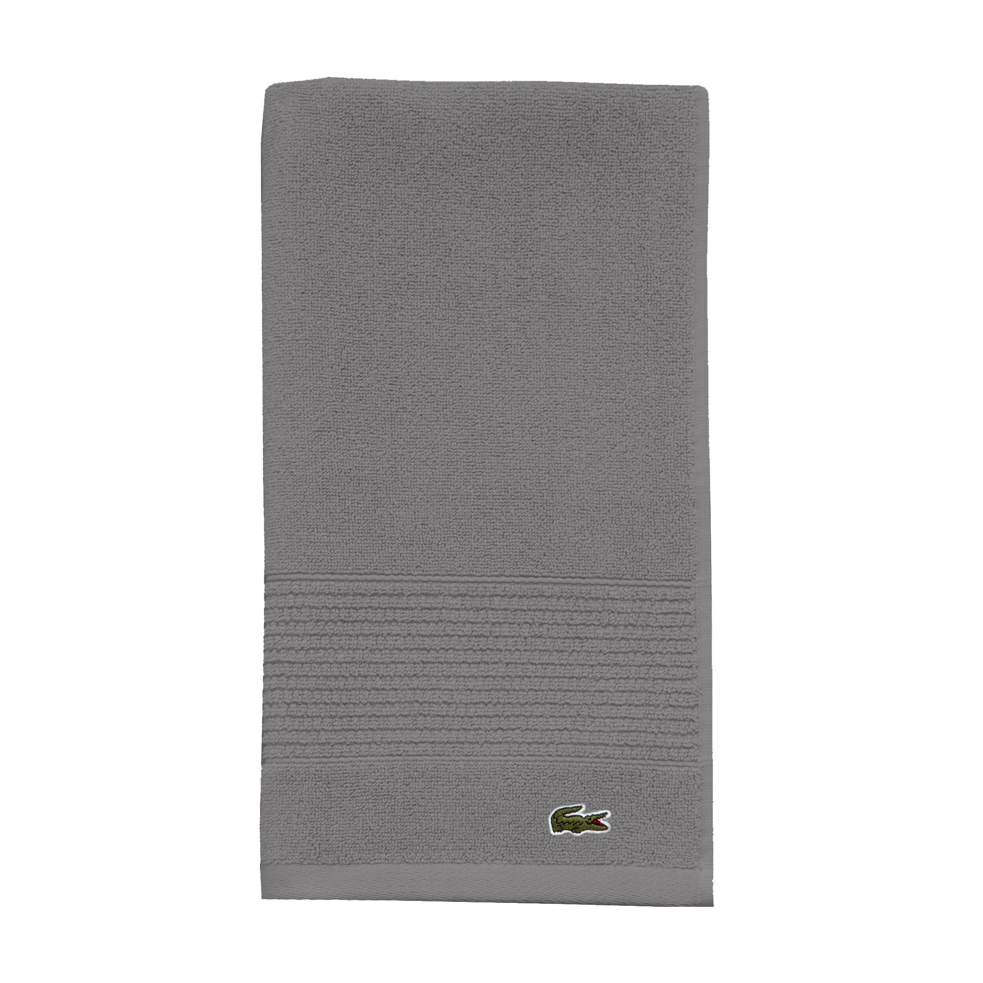 Lacoste Legend Towel, 100% Supima Cotton Loops, 650 GSM, 16''x30'' Hand, Meteorite
