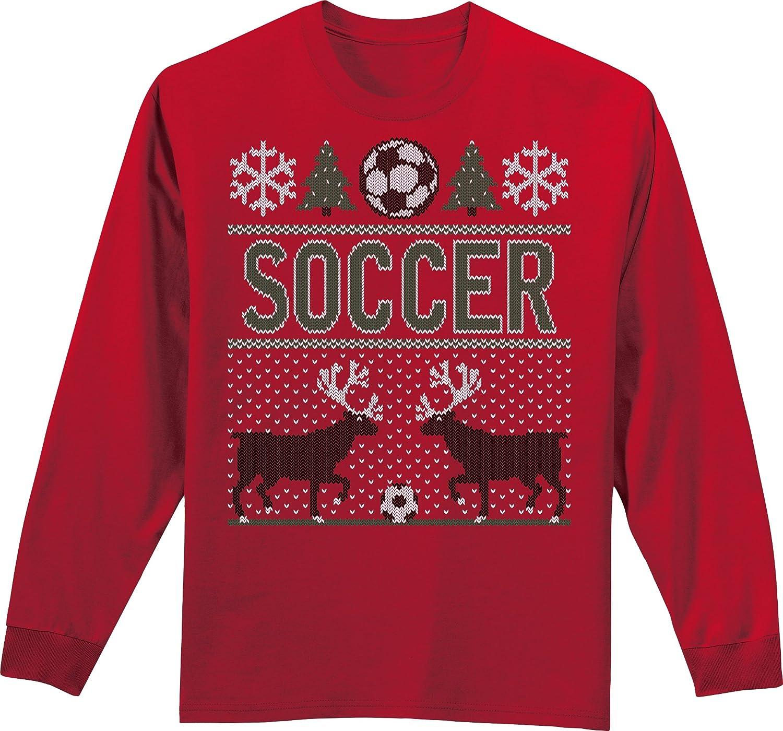 醜いクリスマスセーター長袖サッカーTシャツ B017MUG3ZGレッド Youth X-Large