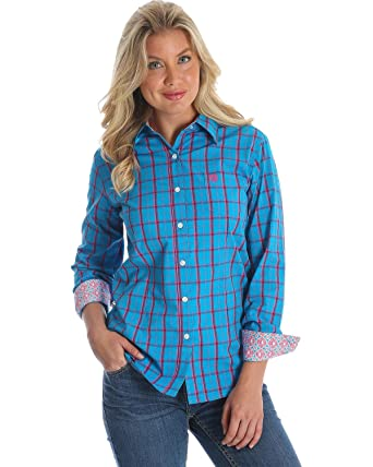 2e9fd407 Wrangler George Strait for Her Long Sleeve Shirt LGS7409 -  Turquoise/Pink/Navy (X-Small) at Amazon Women's Clothing store:
