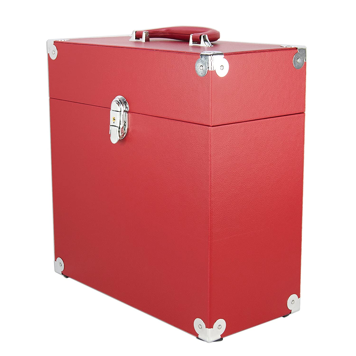 JACK & CABLE (HMV0591) Vinyl Record Case for 12' & LPs Records - Red with Silver Hardware OTL