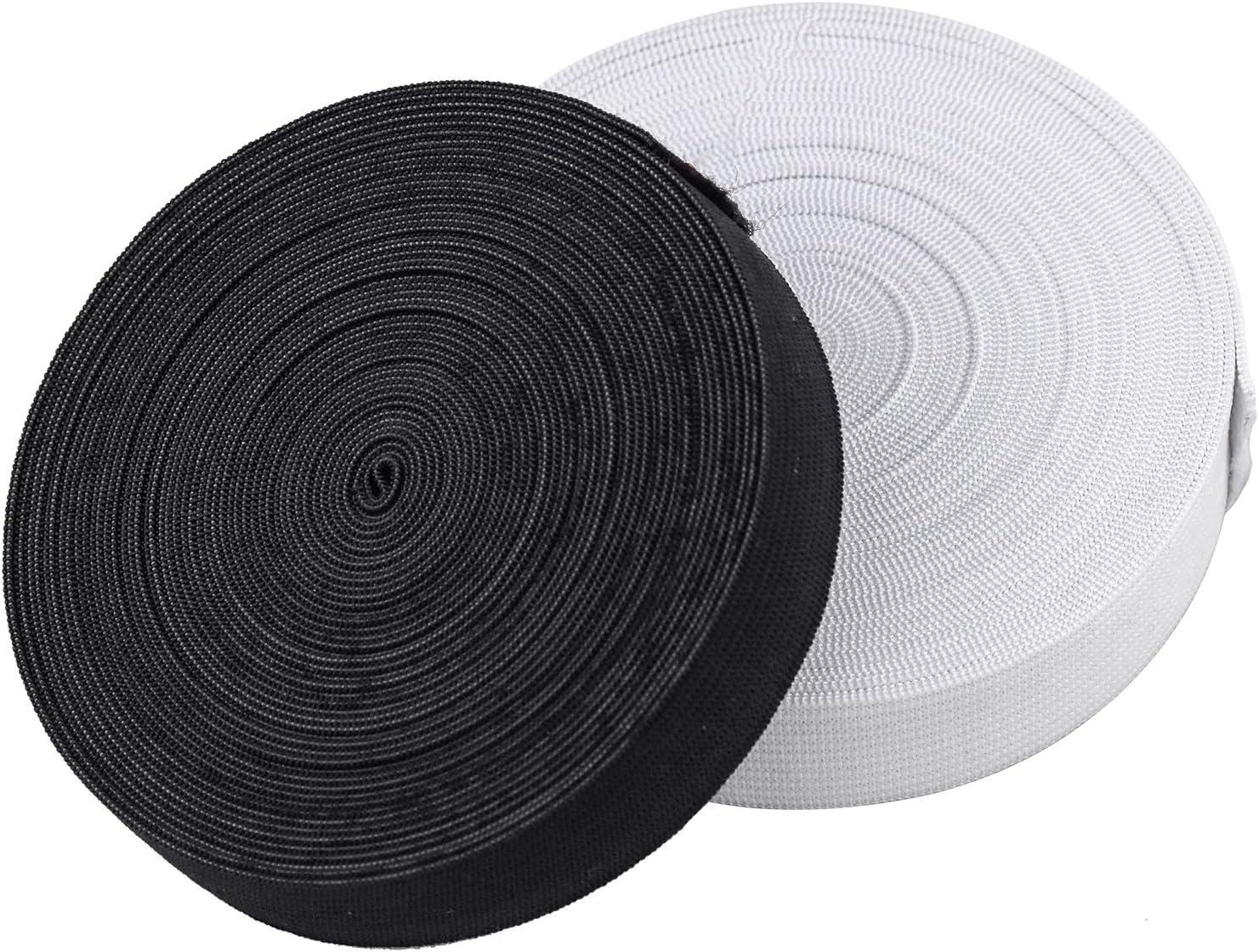 Noir + Blanc Wandefol Lot de 2 Rouleaux Bandes /Élastiques Accessoires Couture pour Artisanat Bricolage 5 m /× 20 mm Sangle /Élastique avec Forte Extensible